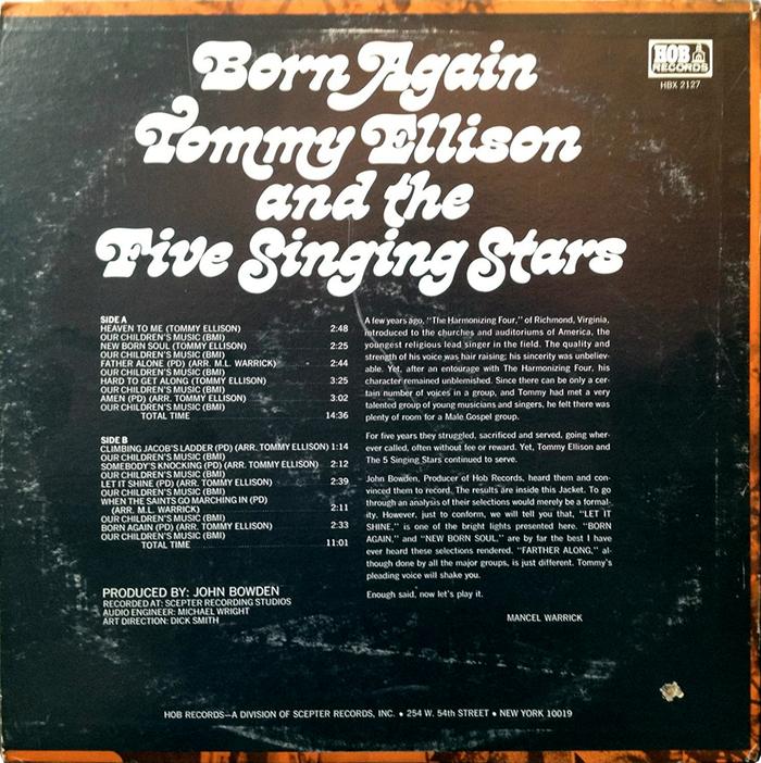 Tommy Ellison & The Five Singing Stars – Born Again album art 2