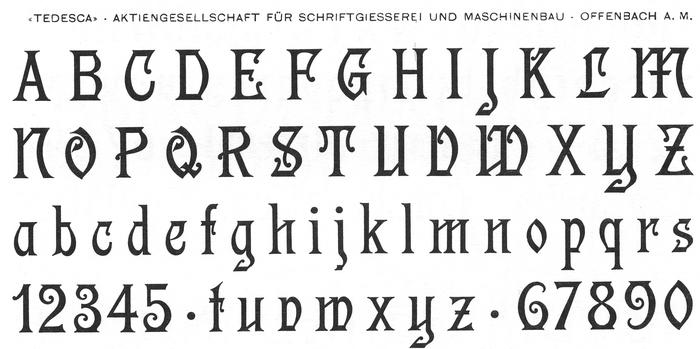 Tedesca's glyph set as shown in Petzendorfer's Schriftenatlas Neue Folge (1903–1905).