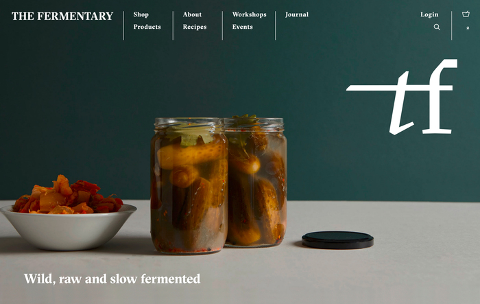 Website design. See the live website at thefermentary.com.au.