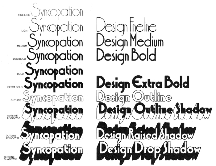 Style range of Syncopation as shown in Headliners' 1978 catalog (left) compared to the style range of Design, compiled from samples in Typeshop's 1973 catalog (right).