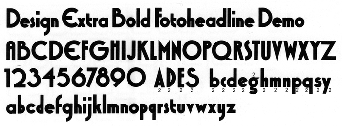 Glyph set of Design Extra Bold with alternate glyphs, as depicted in Typeshop's 1973 catalog. Syncopation has the same alternates.