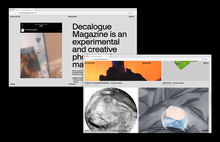 Decalogue Magazine website 3