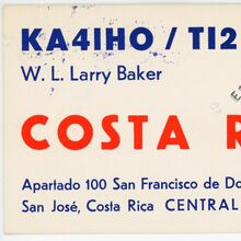 W.L. Larry Baker QSL card