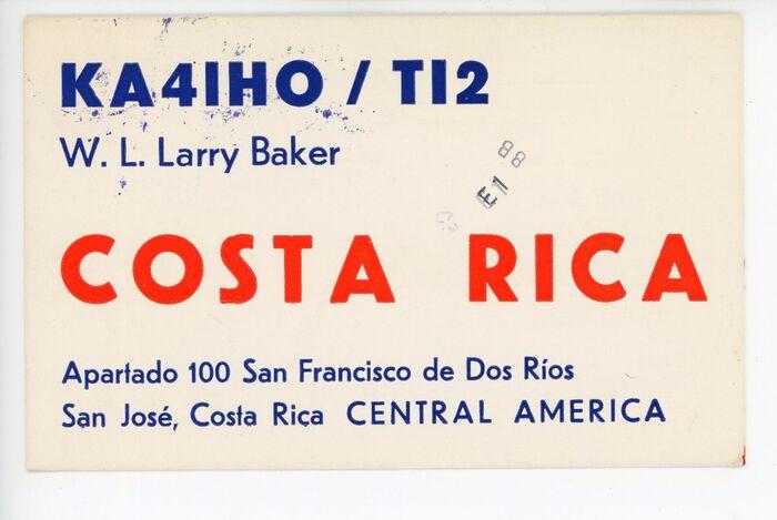 W.L. Larry Baker QSL card 1