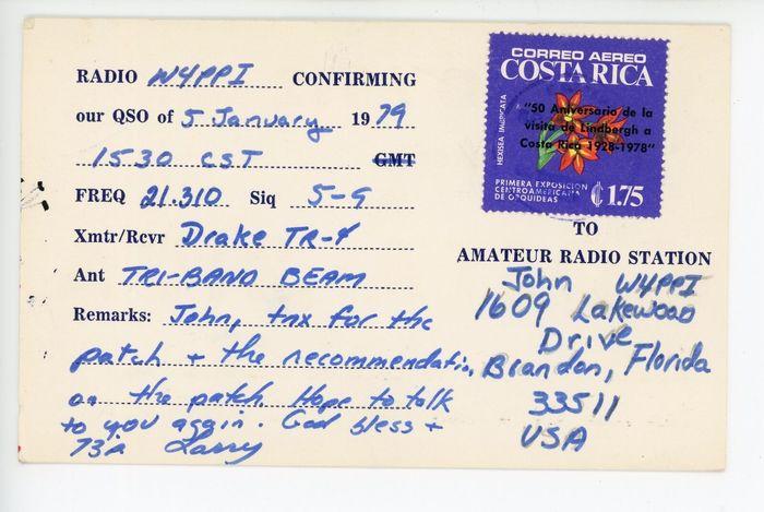 W.L. Larry Baker QSL card 2