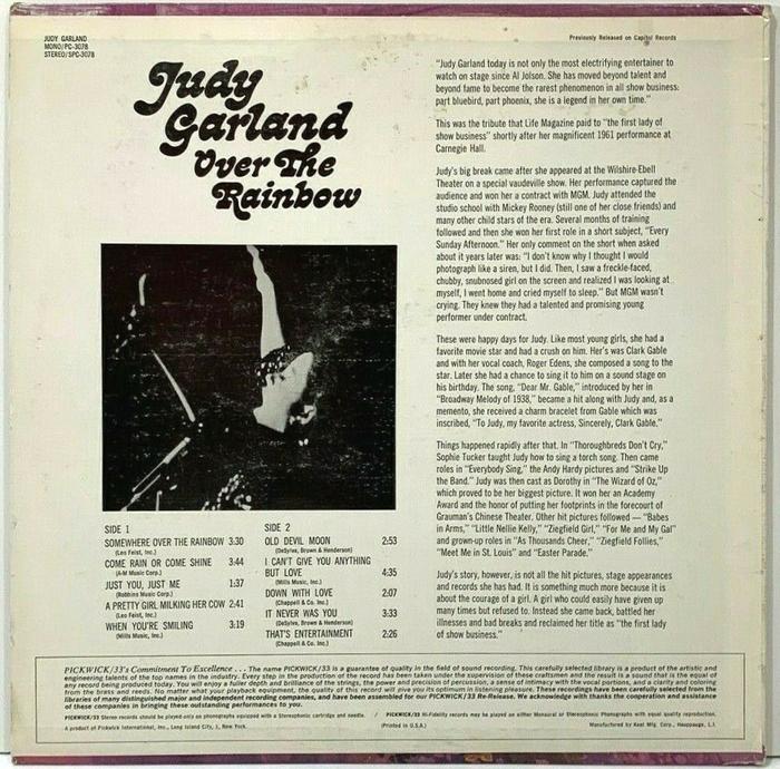 Judy Garland – Over The Rainbow album art 2