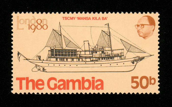 """TSCMY """"Mansa Kila Ba"""" was completed in 1913 on Rennie Forrest's yard in Wivenhoe, England. The luxurious yacht was built for the Governor of Gambia and burnt in 1970 in a revolutionary arson attack. [shipstamps.co.uk]"""