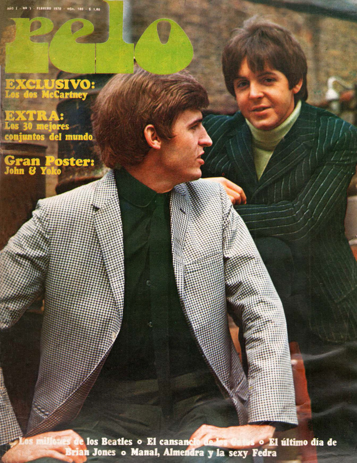 Vol. 1, No. 1 (February 1970), ft. Mike and Paul McCartney and the first appearance of the Pelo logo in Chwast Art Tone. The cover typeface is .