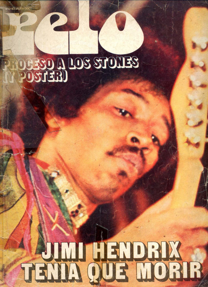 Vol. 1, No. 9, announcing the premature death of Jimi Hendrix. Cover typography in .