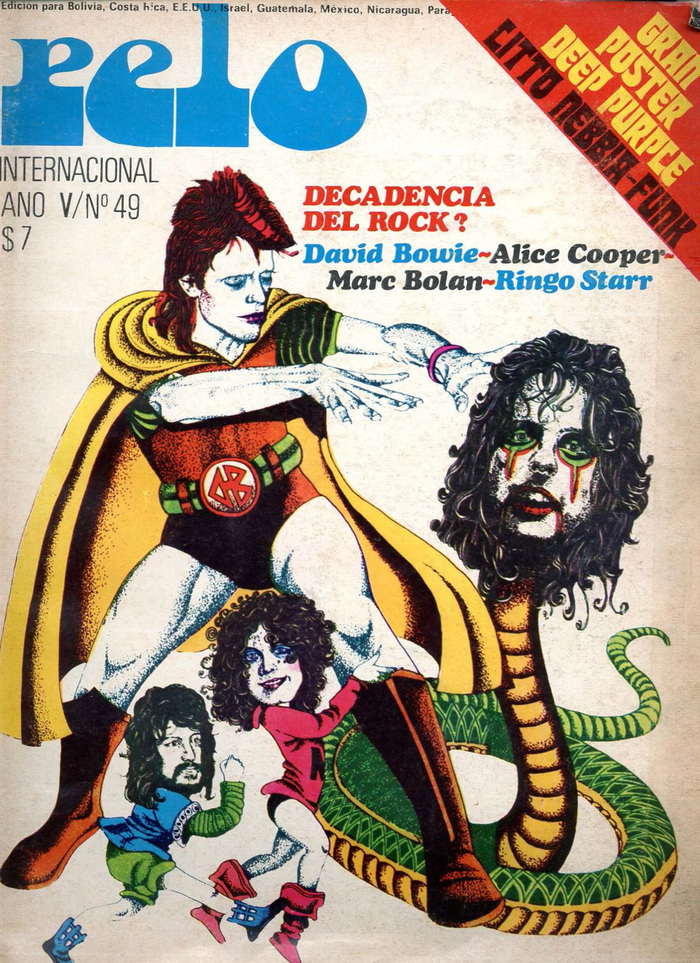 "Vol. V, No. 49 (1974) about the ""decadence of rock"", ft. David Bowie, Alice Cooper, Marc Bolan, Ringo Starr,  Italic, and ."