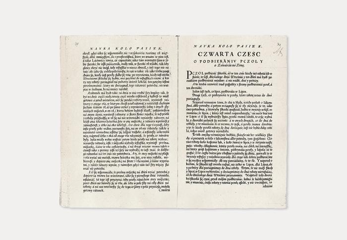 Original old print of Nauka koło pasiek was published by Walenty Kącki and Jan Ostroróg in 1614 in Zamość, Poland.