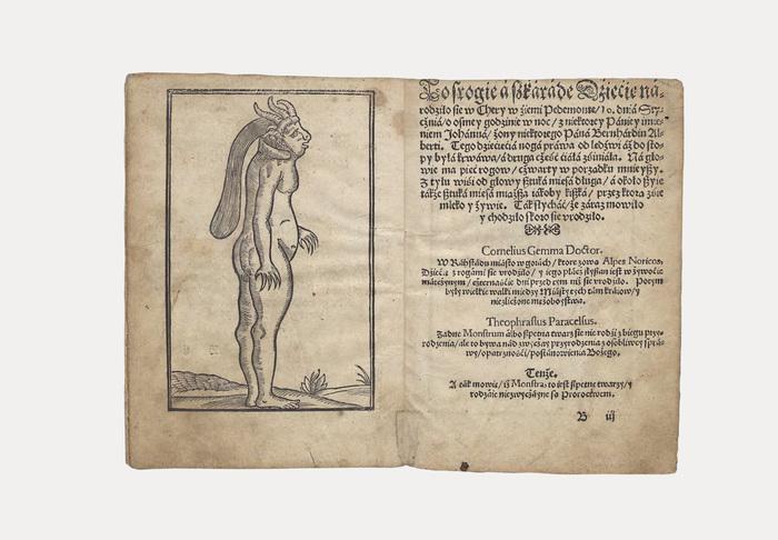 Original old print of Prawdziwe wyobrażenie trojga dzieci bardzo strasznych i dziwnych [...] from Joannes Theobaldus Blasius was published in Krakow, Poland in 1578