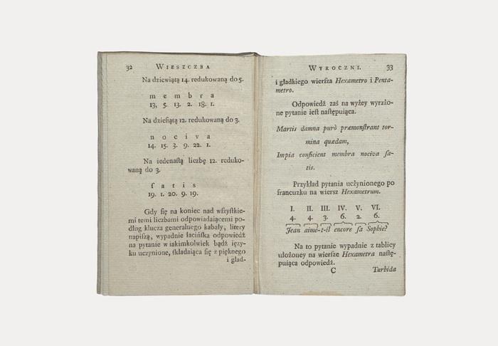 Original edition of Wieszczba wyroczni czyli tablice kabalistyczne [...] from Ksawery Starzeński, printed by Michał Gröll in Warsaw in 1784.