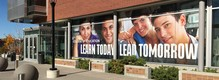 """Learn Today, Lead Tomorrow"" University of Utah window graphics"