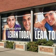 """Learn Today, Lead Tomorrow"" University of Utah window graphics"