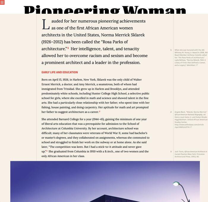 Pioneering Women of American Architecture website 9