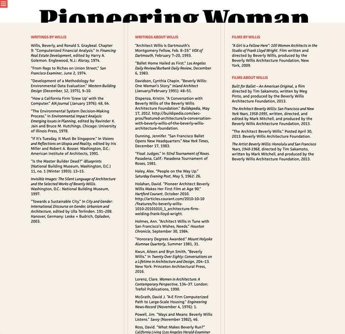 Pioneering Women of American Architecture website 8