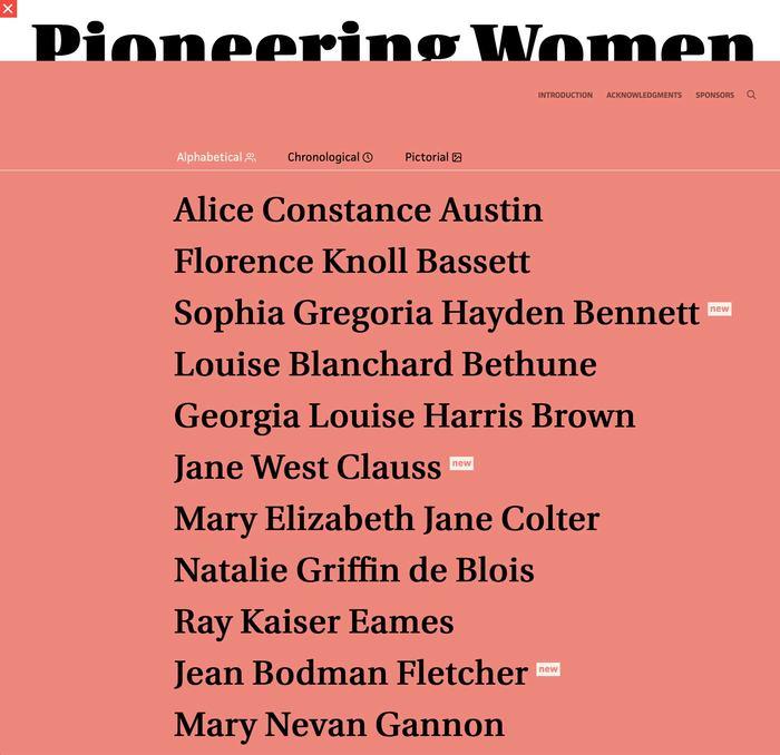 Pioneering Women of American Architecture website 3