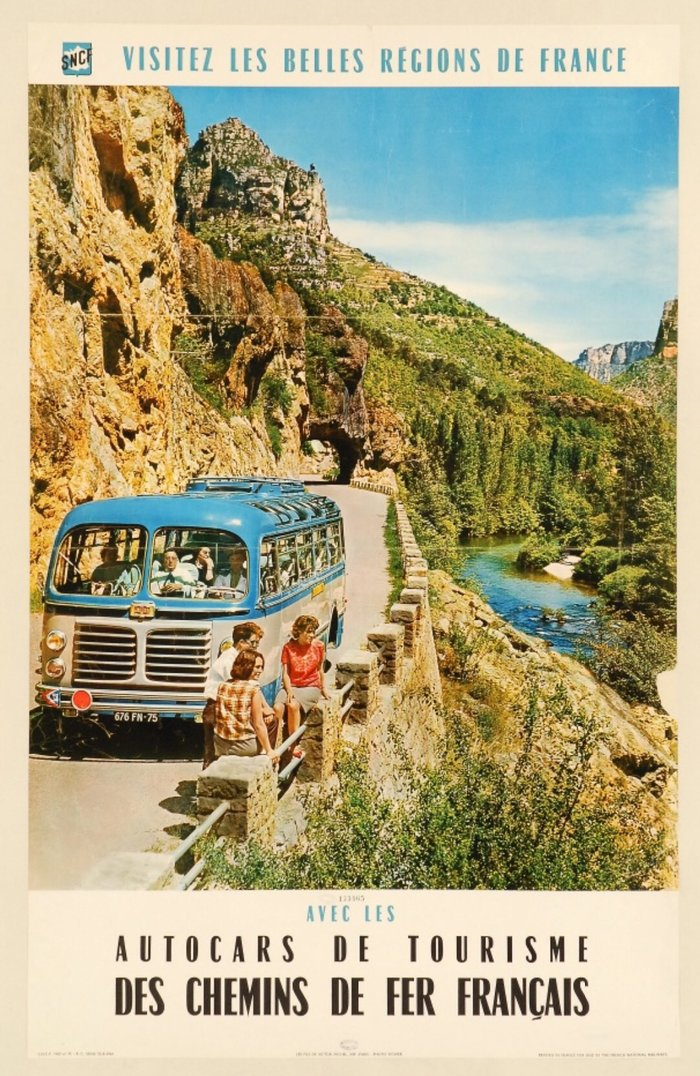 Poster by the French railway company SNCF, advertising their touristic autocar (i.e. motor coach) services, featuring Chambord étroit, a condensed member of the  family designed by  for Fonderie Olive, Marseilles, in 1949. Just like regular-wide Chambord closely follows Cassandre's , the condensed is quite similar to the (all-caps) Initiales Peignot étroit.