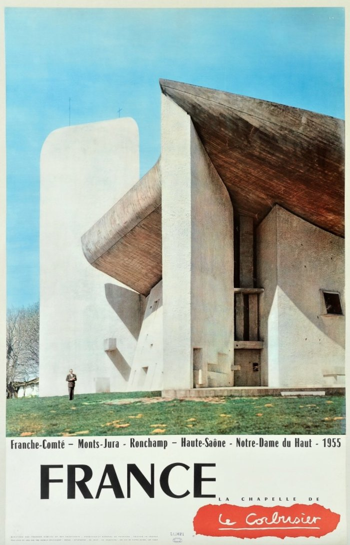 "Le Corbusier's Chapelle Notre-Dame du Haut (1955) and more Chambord étroit. Neither Chambord demi-gras nor Peignot/Touraine (nor Île de France) seem to match the caps used for ""France"". My best guess is that it's custom lettering based on Chambord."