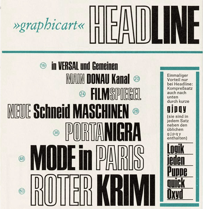 Detail from a specimen for Headline by Ludwig & Mayer, ca. 1965.