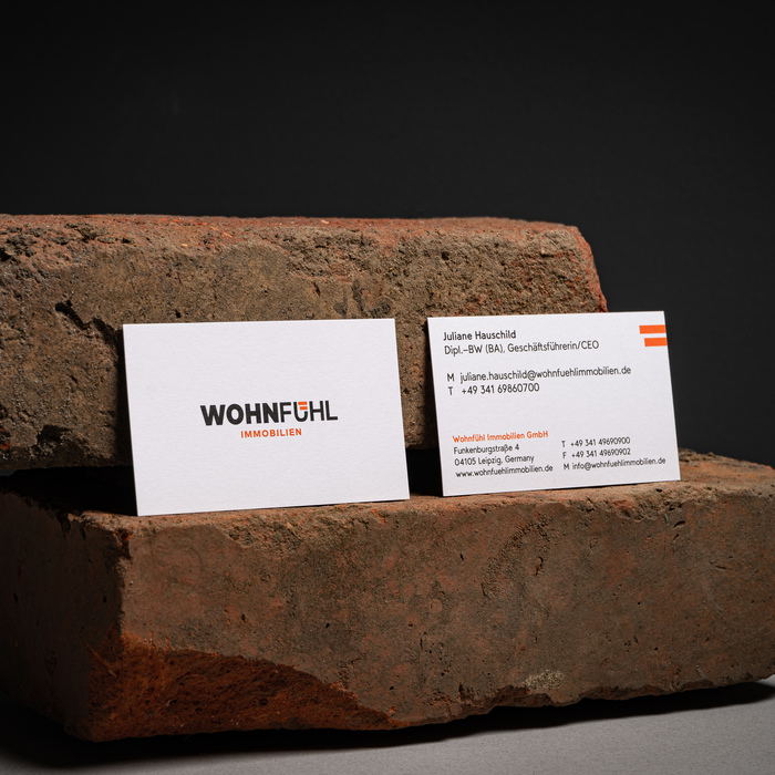 Business cards, printed on Metapaper Extrarough.