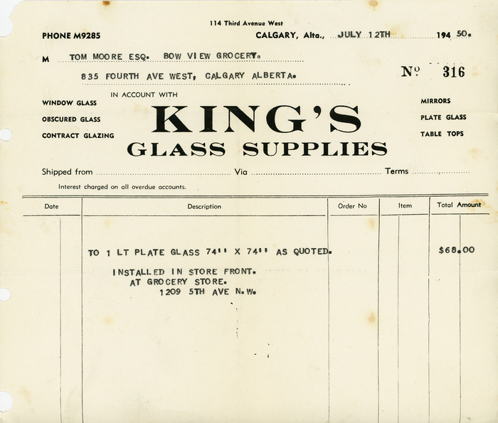 King's Glass Supplies invoice (1950)