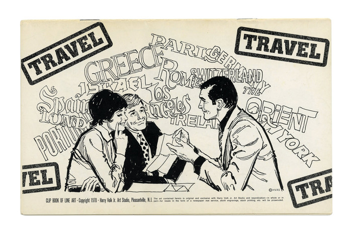 """Travel"" (No. 195). While the title is set in caps from Georg Trump's  fett, rasterized and repeated at varying angles like stamps in a passport, the names of the destinations are hand-lettered. Some are probably based on existing faces, e.g. ""Orient"" appears to emulate . ""Greece"" might be patterend after ."