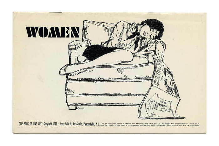 """Women"" (No. 199). Illustration by Tom Sawyer. The constructivist stencil caps are from ."