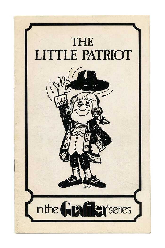 """""""The Little Patriot"""" (No. G62) ft. . The logo of the Grafika subseries is in  with ligatures for ra and fi, accompanied by  Light with omitted tittles."""