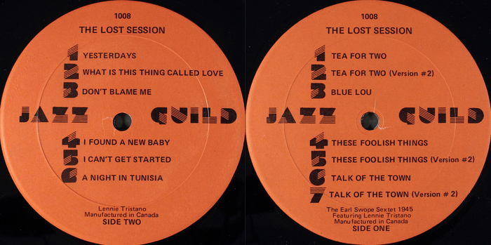 The Earl Swope Sextet 1945 featuring Lennie Tristano – The Lost Session album art (Jazz Guild, 1982) 3