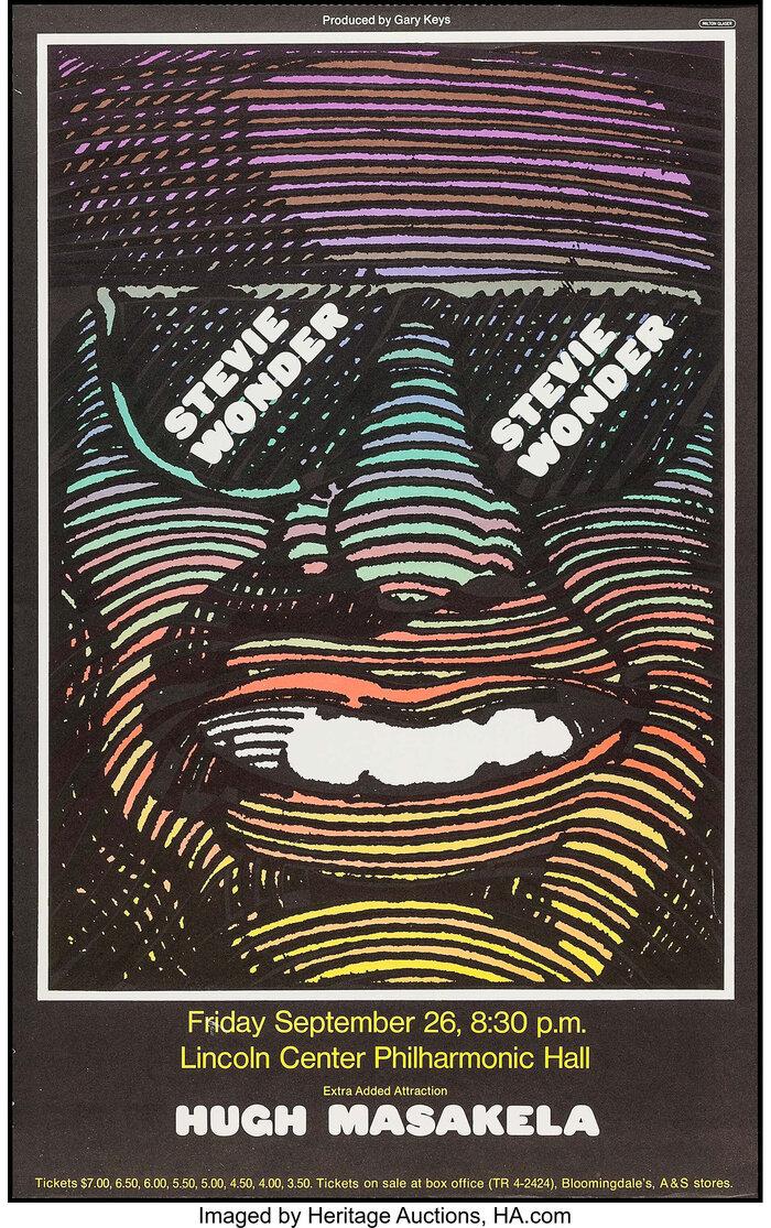 Stevie Wonder and Hugh Masekela at Lincoln Center Philharmonic Hall concert poster 2
