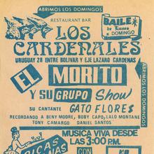 El Morito Y Su Grupo at Restaurant Bar Los Cardenales concert flyer