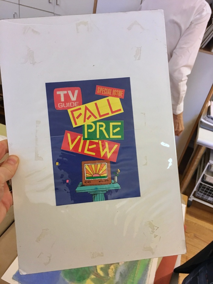 I visited Milton Glaser's studio in 2017 and he showed me alphabet photostats along with this artwork. It's not clear if it was a rejected comp for the final cover. The TV Guide logo and illustration are different, but the Einstein type is the same.