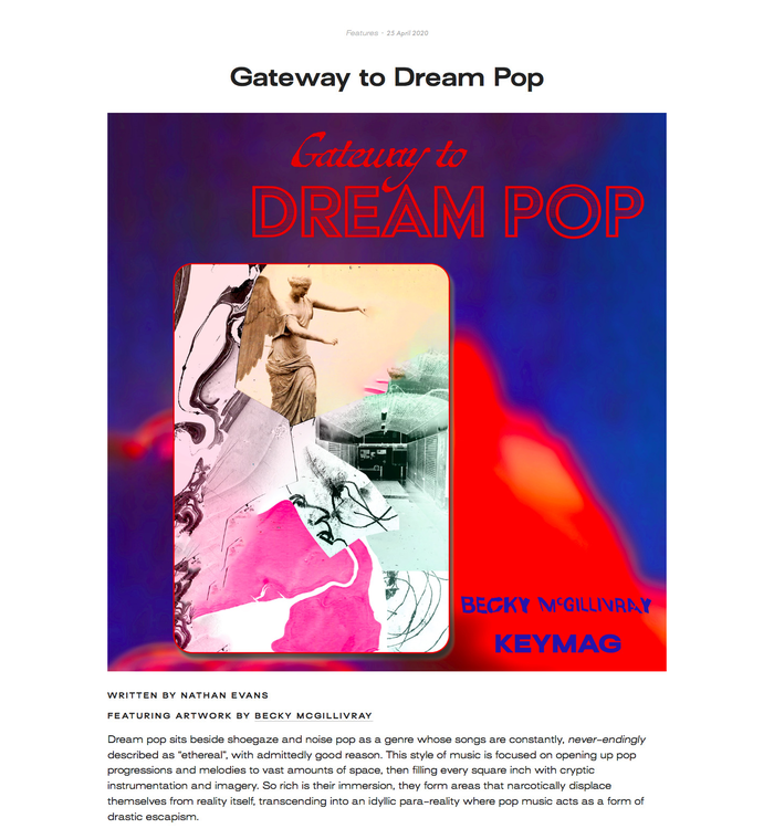"""For the """"Gateway to Dream Pop"""" piece located on the website screenshot,  Regular and  BAT Text Gris were used. This piece was co-designed by Becky McGillivray."""