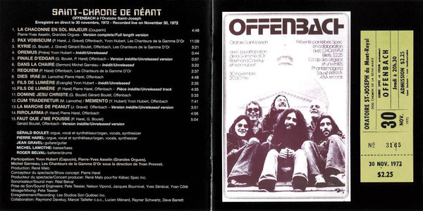 Track list with a vintage poster and ticket, as reproduced in the CD booklet of a 2008 re-release.