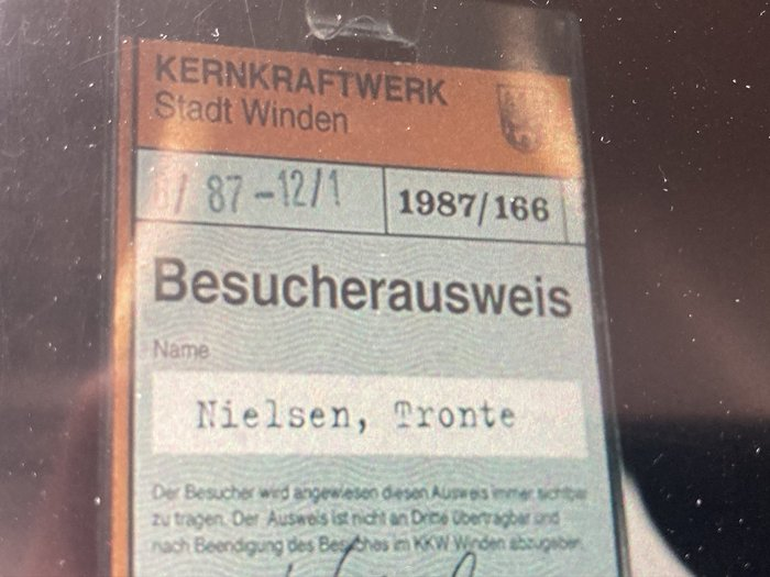 Besucherausweis Kernkraftwerk Stadt Winden 1987 1