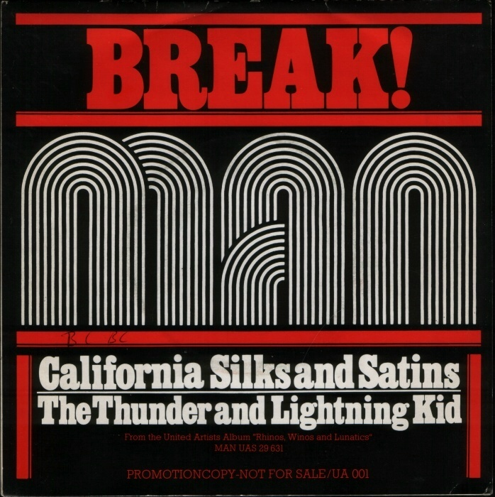 """Promo copy for """"California Silks And Satins"""" / """"The Thunder And Lightning Kid"""" from the 1974 album Rhinos, Winos and Lunatics, ft.  for titles and  for small print."""