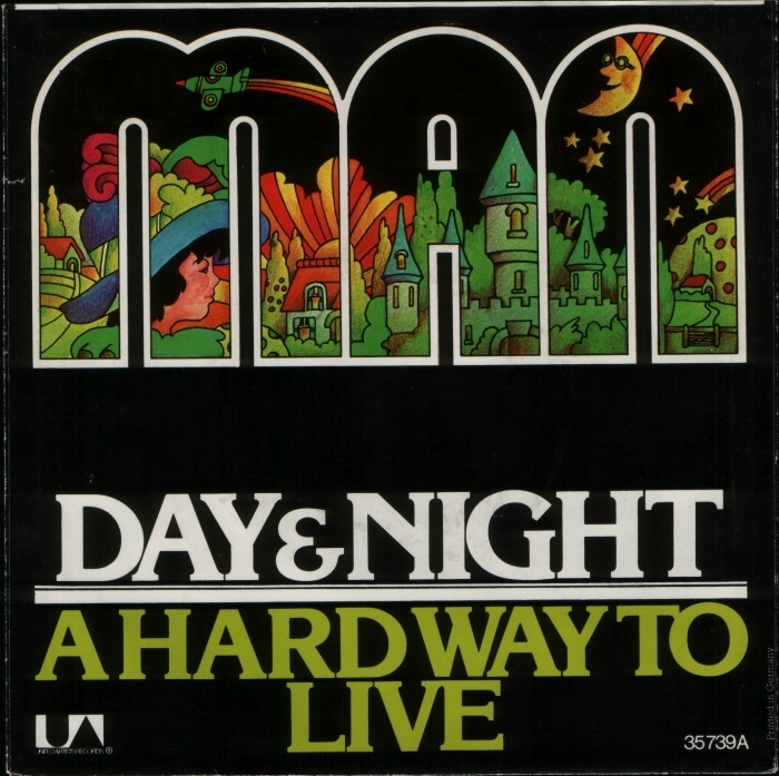 """""""Day And Night"""" / """"A Hard Way To Live"""" from the 1974 album Slow Motion. In this design, the letterforms of Stripes were made solid and filled with illustration. Titles set in all-caps ."""