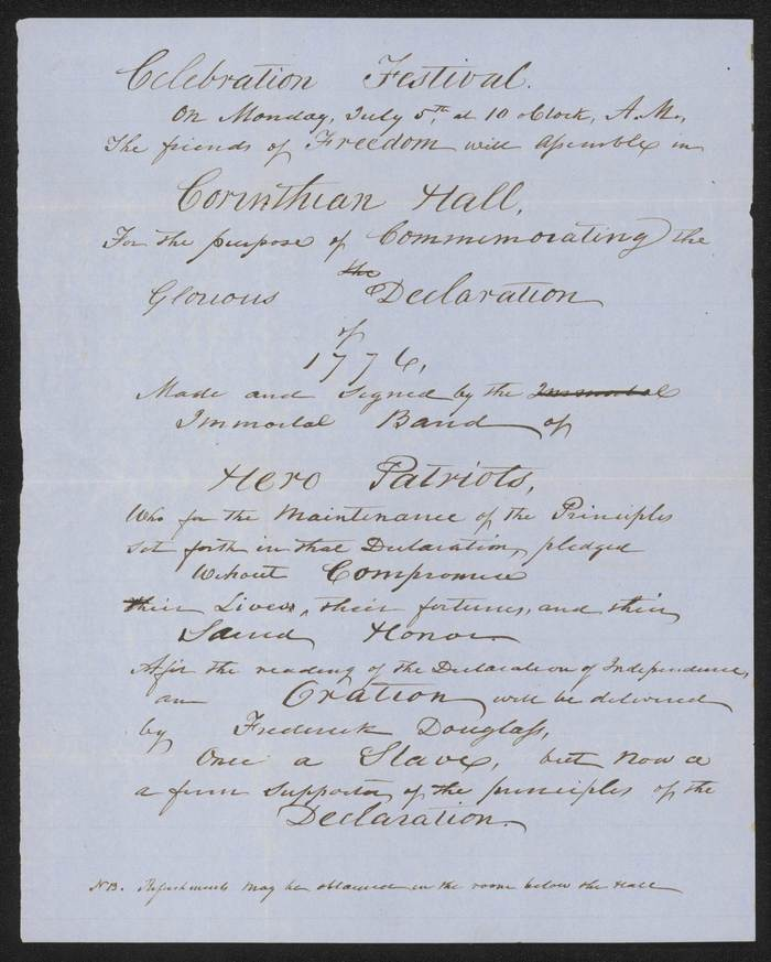 """Hand-written announcement for the event, describing Douglass as: """"Once a Slave, but now a a firm supporter of the principles of the Declaration""""."""