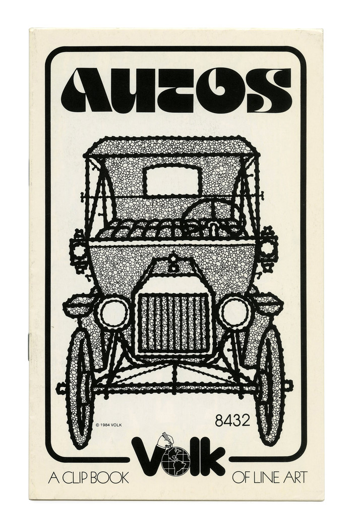 """""""Autos"""" (No. 8432) ft. a vintage car contrasted with Othmar Motter's futuristic  (1974)."""