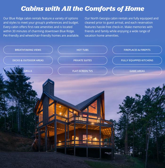 Southern Comfort Cabin Rentals website 4