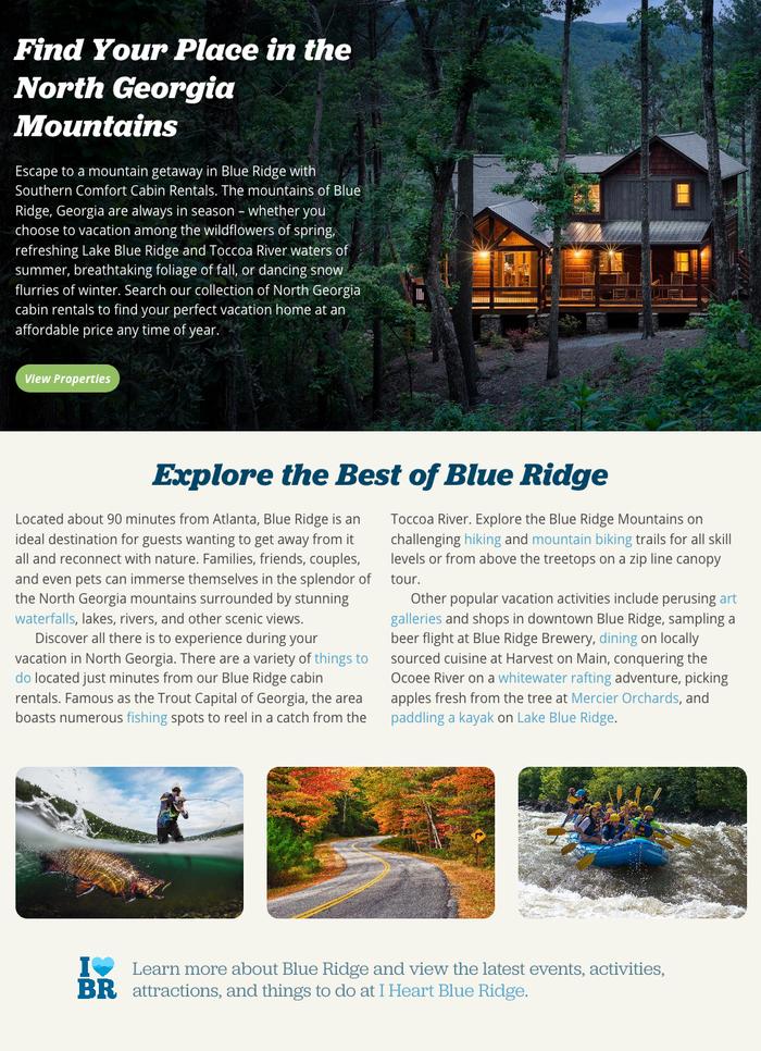 Southern Comfort Cabin Rentals website 3