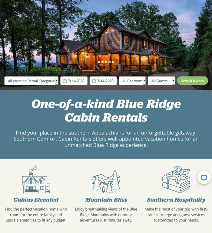 Southern Comfort Cabin Rentals website 1