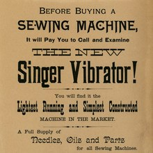 """The New Singer Vibrator!"" handbill"