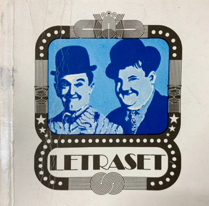 The inspiration: Broadway and a frame made from elements of Stripes, as seen on the cover of a Letraset catalog from 1975. In place of Bing Crosby, the framed image depicts Laurel & Hardy.