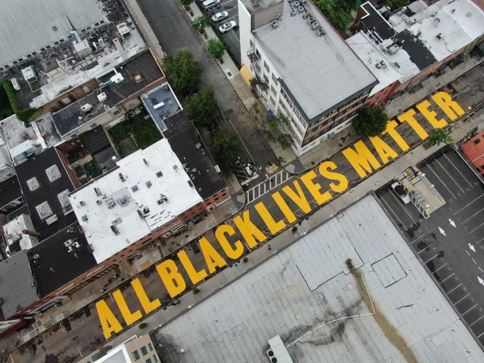 """""""ALL BLACK LIVES MATTER"""" on Halsey Street, just east of the Rutgers University-Newark campus."""