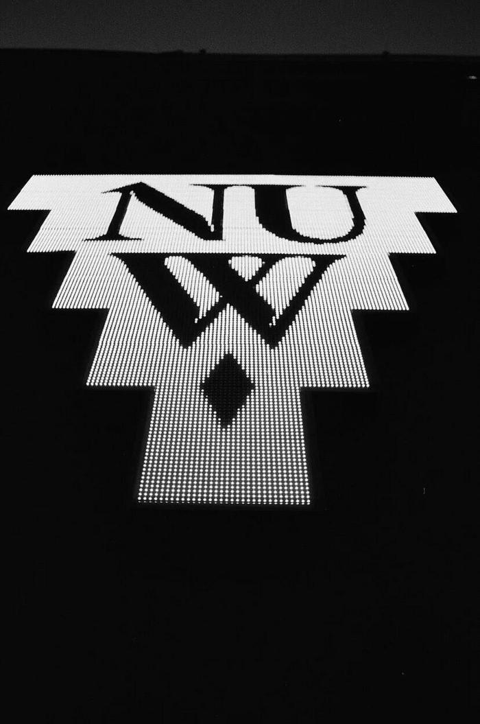 Close-up of the installed logo from the NUW Store.