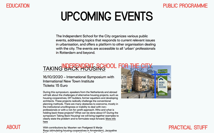School for the City website 4