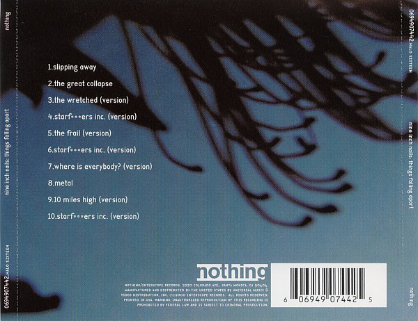 """CD back cover with track list (""""starfuckers inc."""" is censored with asterisks)."""